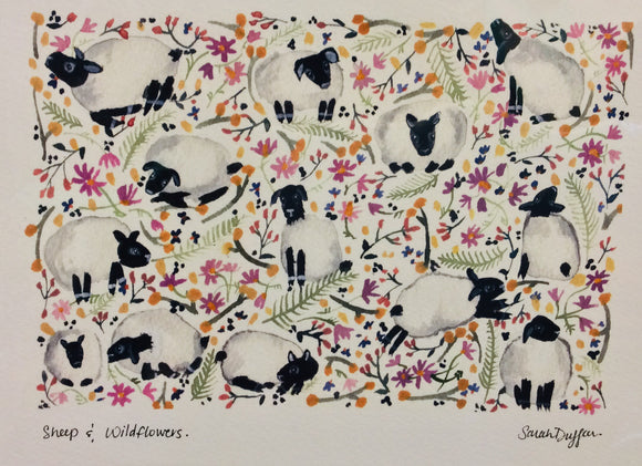Sarah Duggan Creative Works Prints - Sheep And Wildflowers