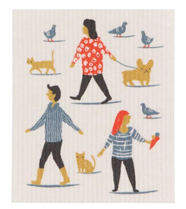 Swedish Dish Cloth - People Person Walking Pets