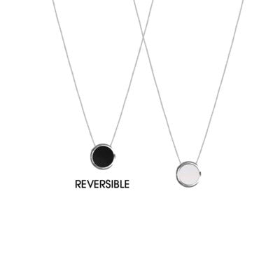 Silver Reversible Resin Necklace on Delicate Chain — 1304-SLV