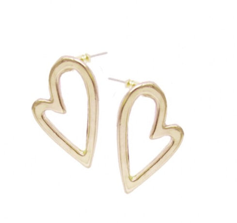 Irregular Heart Studs in Gold — 2345-GLD