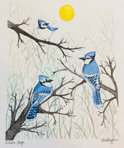 Sarah Duggan Creative Works Prints - Winter Blue Jays