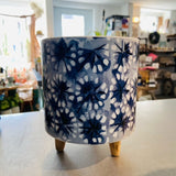 Ceramic Blue and White Footed Pot Assorted