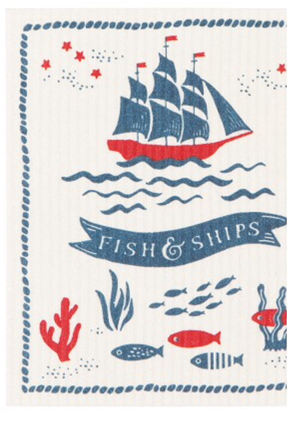 Swedish Dish Cloth Fish & Ships