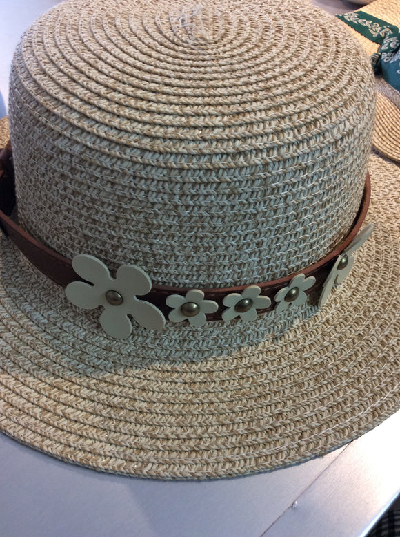 Floral Belt Hat Straw