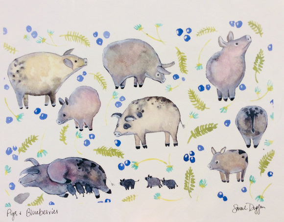 Sarah Duggan Art Print - Pigs and Blueberries