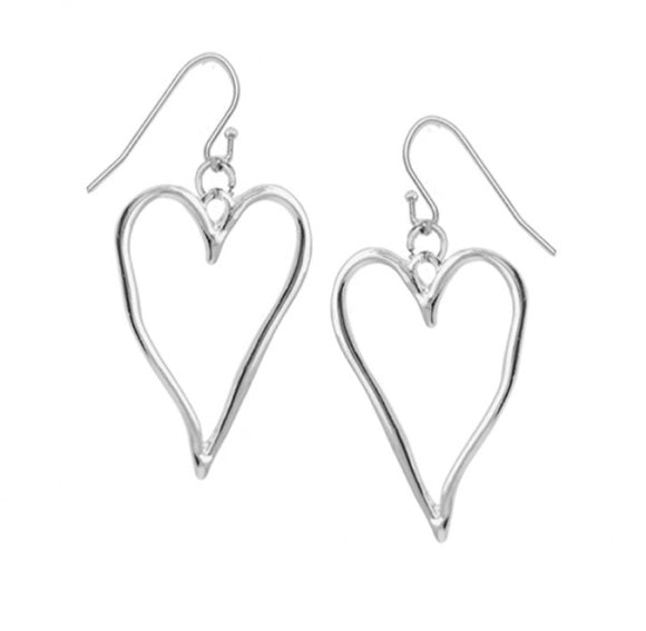 Drop Earrings With Large Silver Wavy Heart — 2342-SLV