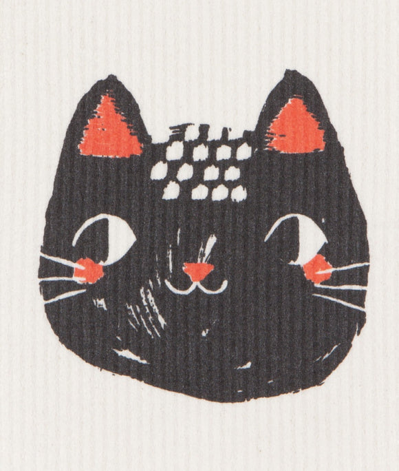 Swedish Dish Cloth Meow Meow (Black)