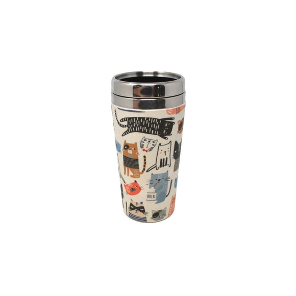 Bamboo Fibre / Stainless Travel Mug - Cats