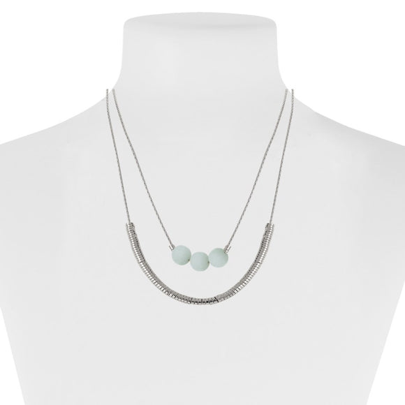 Turquoise & Silver 2 Row Necklace