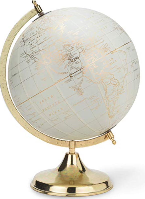 Globe On Stand-Ivory-11""