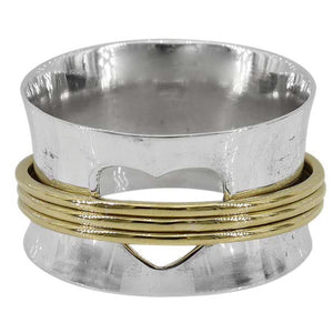 Sterling Silver & Brass Heart Cut Our Meditation Ring