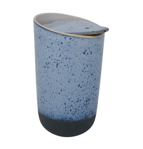 Pottery Style Travel Mug — Blue