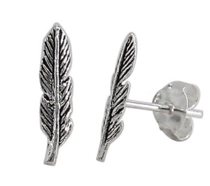 Sterling Silver Feather Stud