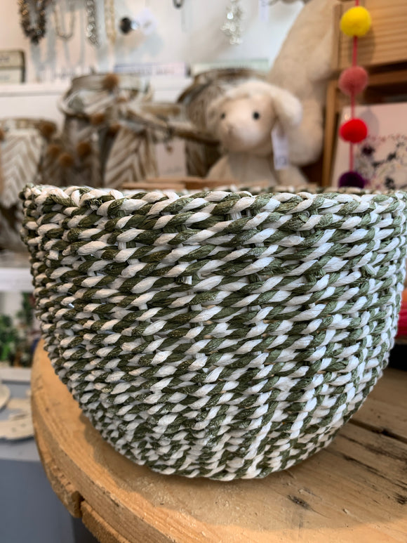 Paper Twine Baskets - Olive