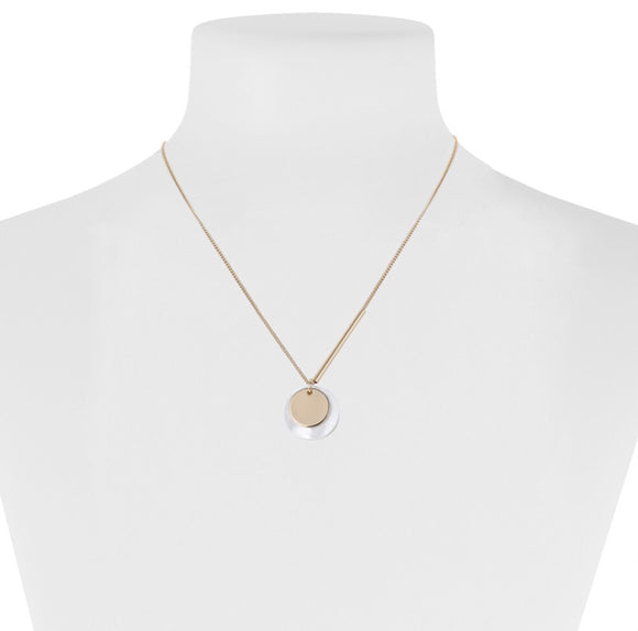 Gold Minimalist Natural Shell & Medallion Necklace — 1391-GLD