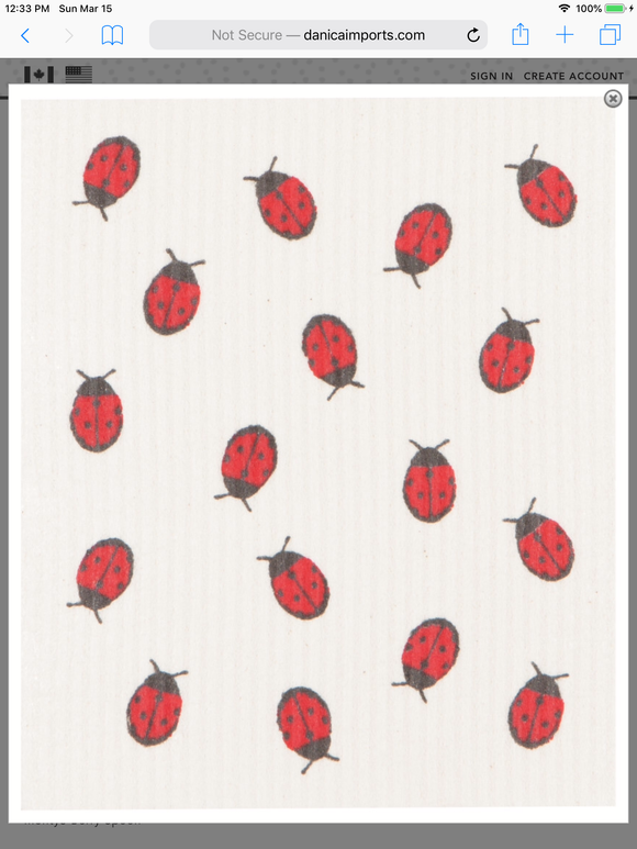 Swedish Dish Cloth Flyaway Ladybugs