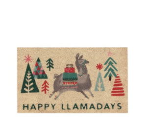 Happy Llamadays Door Mat