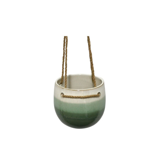 Hanging Pottery Planter - Green