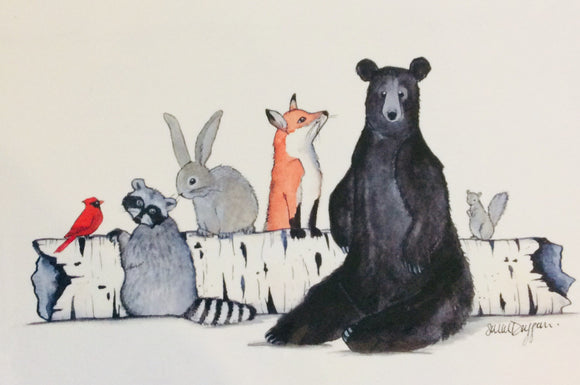 Sarah Duggan Creative Works Prints - Animals On Log
