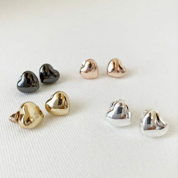 Heart Post Earrings — Hematite