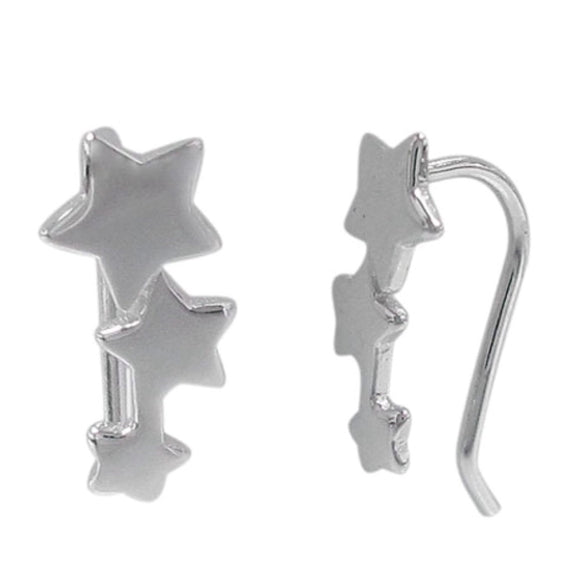Sterling Silver Star Crawler Earrings
