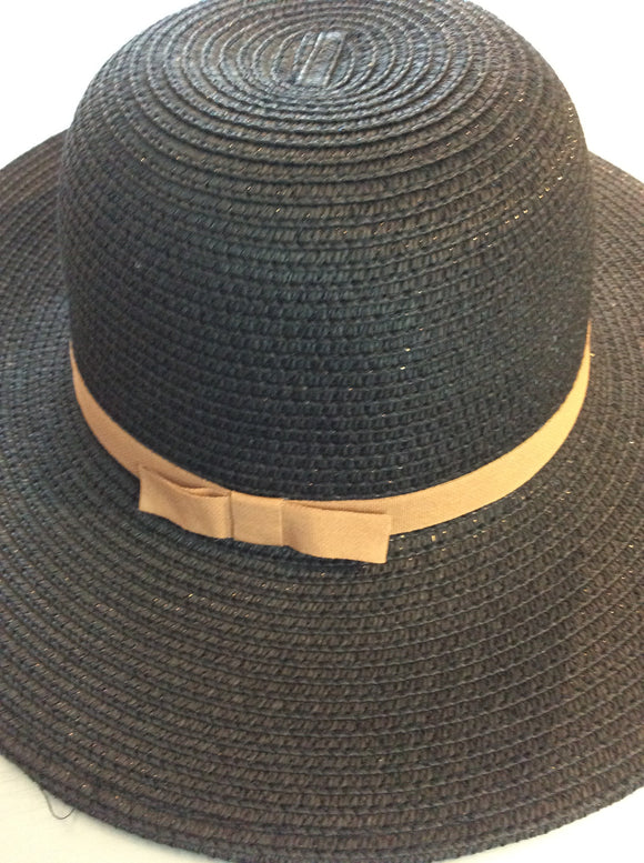 Black Hat Brown Bow