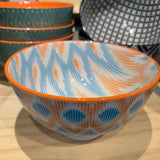 Stamped Bowl Orange Ikat 4""