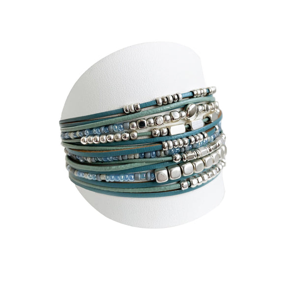 Turquoise and Silver Multi-strand Bracelet