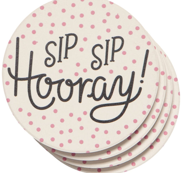 Sip Sip Hooray Soak Up Coasters