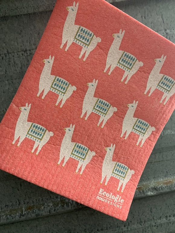 Swedish Dish Cloth Llama Pink