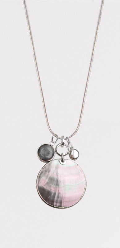 Silver Shell Pendant Necklace With Charms — 1364-RND