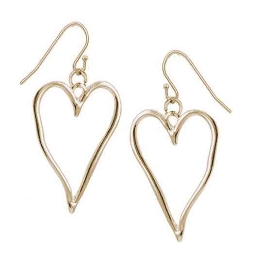 Drop Earrings With Large Gold Wavy Heart — 2342-GLD