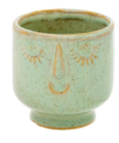 Friendly Face Pot - Small - Moss