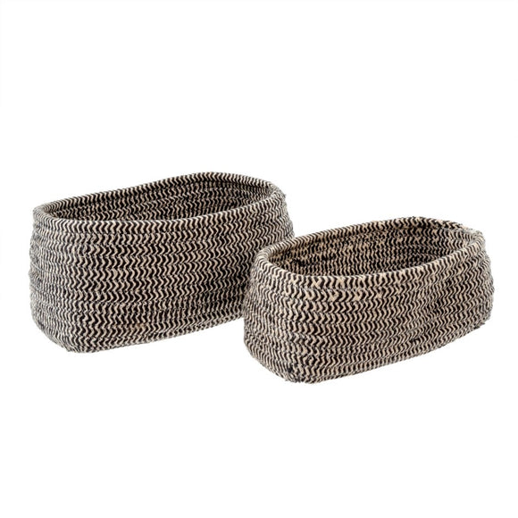 Bakers Twine Basket Oval - Charcoal