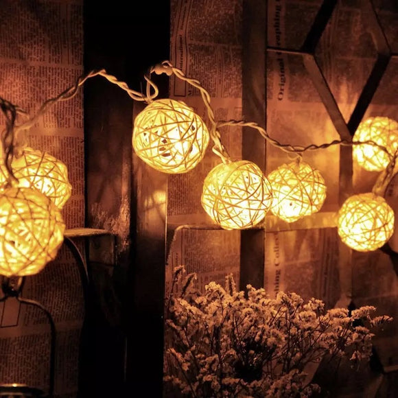 Rattan Ball LED String Lights
