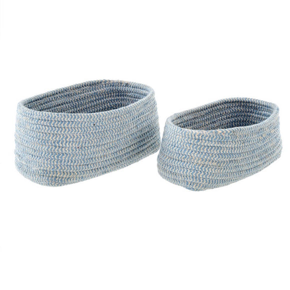 Bakers Twine Basket Oval - Sky Blue