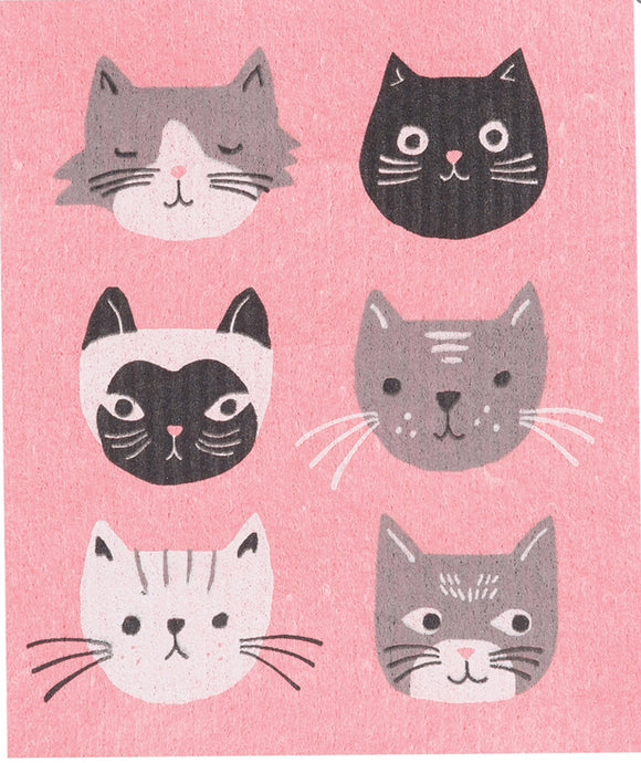 Swedish Dish Cloth Pink Cats