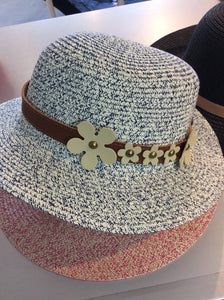 Floral Belt Hat Navy