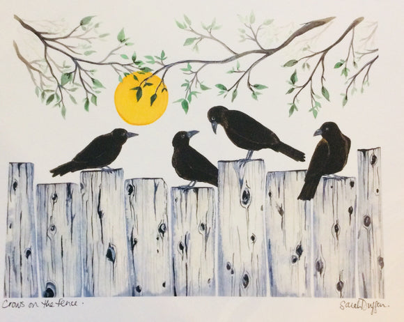 Sarah Duggan Creative Works Prints - Crows On The Fence
