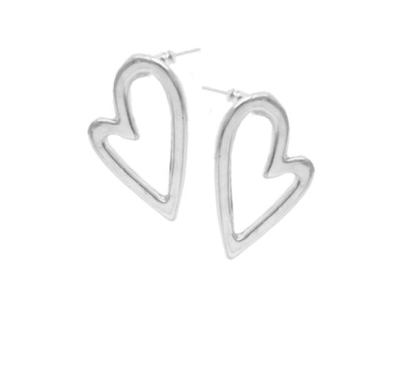 Irregular Heart Studs in Silver — 2345-SLV