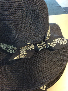 Navy Leaf Bow Hat
