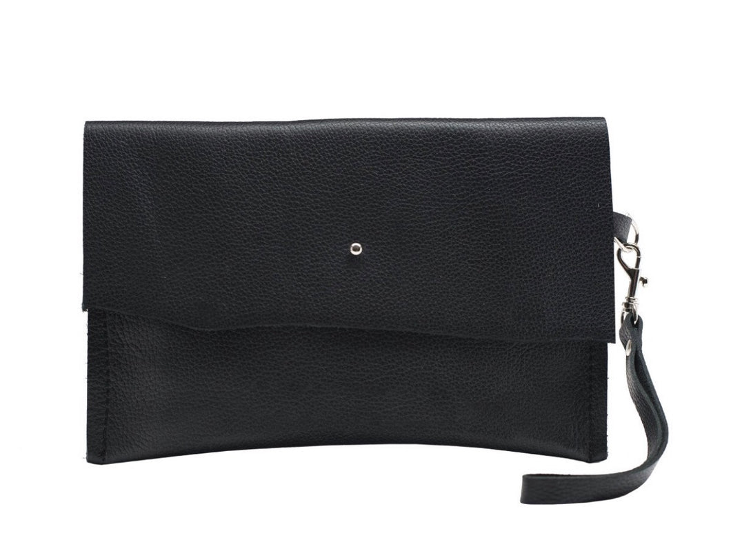 Black Leather Wristlet Clutch