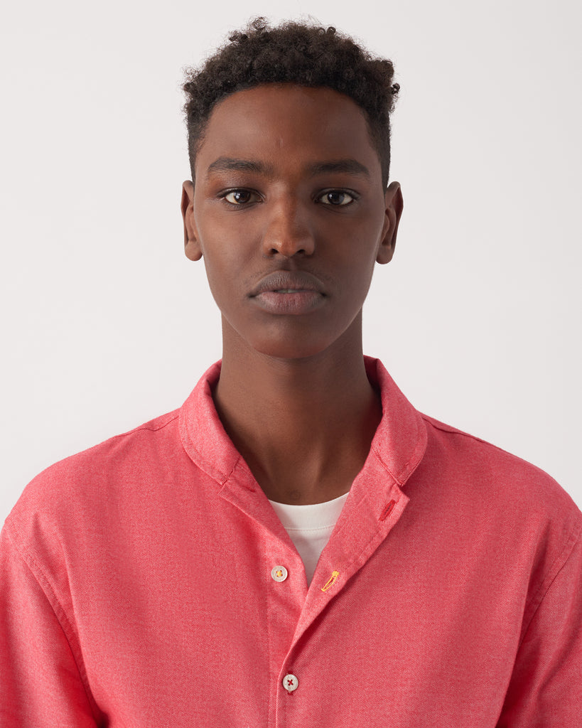 Coral Red Shawl Collar Casual Shirt in Ultra-Soft Cotton