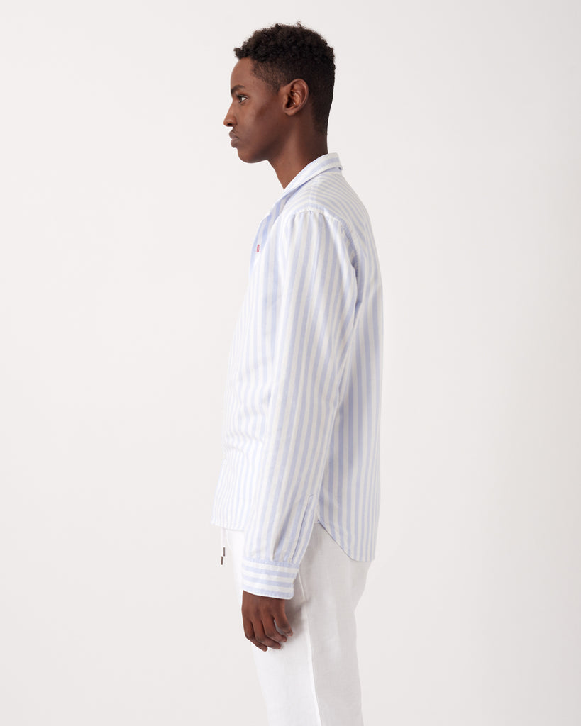 Blue & White Stripe Shawl Collar casual shirt in soft cotton