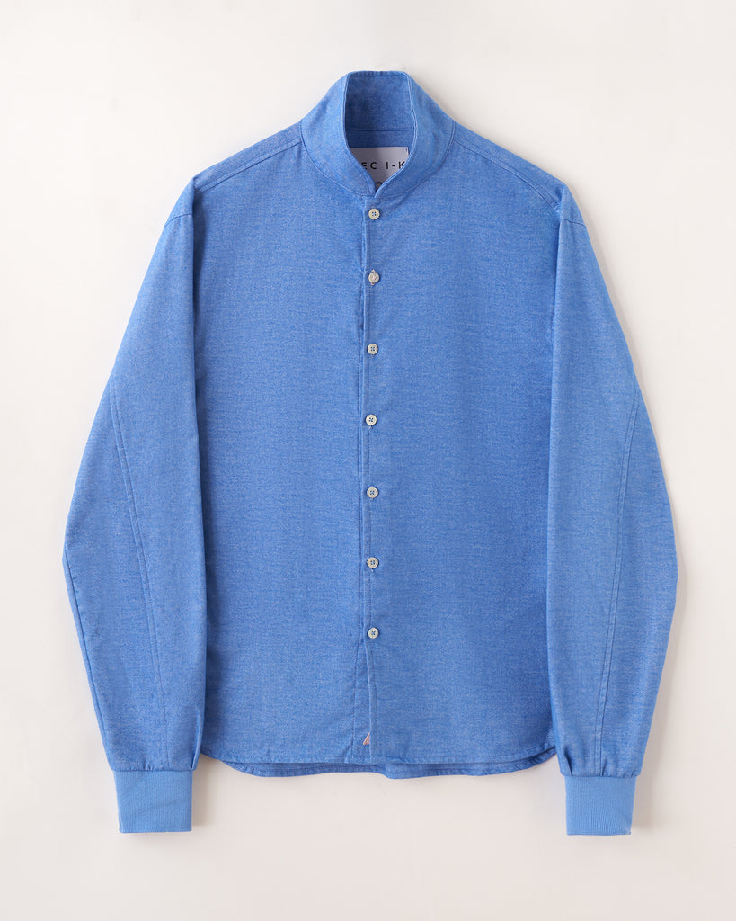 Snorkel blue Shawl Collar Casual Shirt in Ultra-Soft Cotton