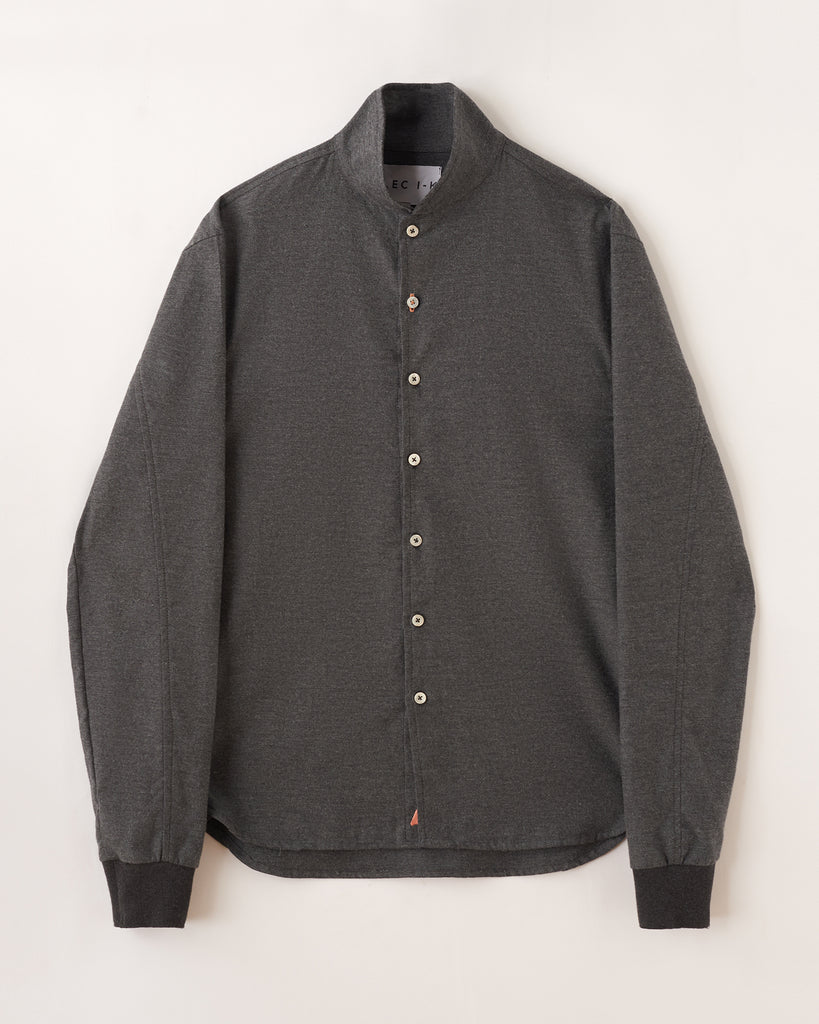 Luxury Cashmere Blend Shawl Collar Casual Shirt in Charcoal