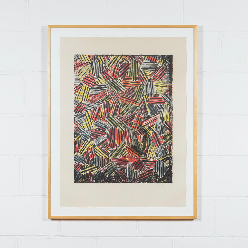 Jasper Johns, Cicada, Lithograph, 1981, Caviar20, prints, shown framed and exhibited on white brick wall