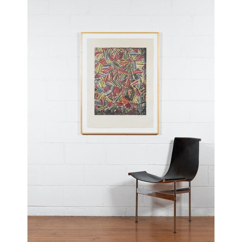 Jasper Johns, Cicada, Lithograph, 1981, Caviar20, prints, shows work framed and in-situ with modernist chair