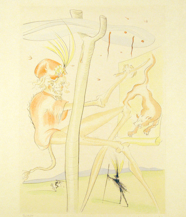 "SALVADOR DALI ""LE SINGE LE LEOPARD"" COLORED ENGRAVING, 1974"