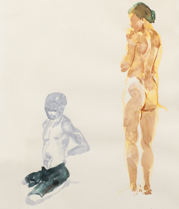 Eric Fischl Neo-Expressionist painter Beach Nude Oil on paper 1993